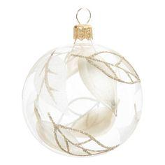 Pallina natalizia dorata in vetro D 7 cm FEUILLAGE