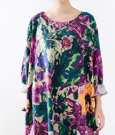 2016 fall bright flower print long sleeve linen dress long cotton maxi dresses
