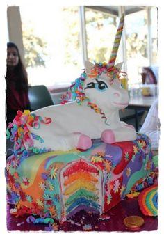 The Rainbow Unicorn Cake....Omg I need this for my birthday!
