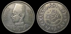 KM 367 Kingdom of Egypt Silver 10 Piastres Coin Depicting King Farouk