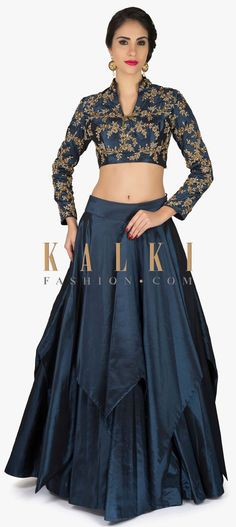 Mid night blue lehenga with embroidered crop top only on Kalki Brocade Blouse Designs, Choli Designs, Designer Blouse Patterns, Lehenga Designs, Saree Blouse Designs, Lehenga Crop Top, Blue Lehenga, Lacha Design, Crop Top With Skirt