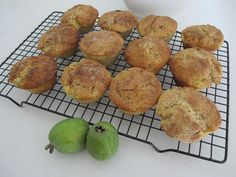 These quick, easy and delicious muffins are from Marvellous Muffins by Alison Holst (Hyndman Publishing, 1994). The orange zest gives them a little zing and I chopped the feijoa a little on the chu…