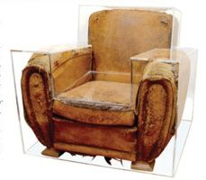 Le Blog: Welcome Back Lucite! Lucite case over vintage French club chair, by Maurice Renoma at Vivre