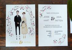 English Rose Custom Wedding Invitation, reply card, thank you card