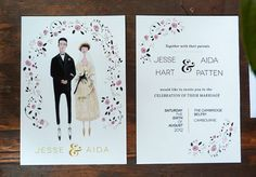 English Rose Custom Wedding Invitation, reply card, thank you card