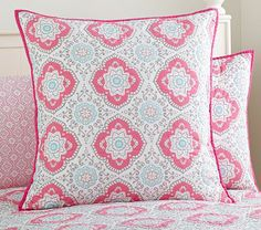 Featuring an allover medallion motif, this whole-cloth sham alternates between rich and subtle hues. The bright shading within the design is echoed along the border. Girls Room Paint, Girl Room, Pink Bedding, Quilt Bedding, Whole Cloth Quilts, Hand Quilting, Pottery Barn Kids, Floral Design, Throw Pillows