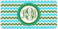 Personalized Monogrammed Chevron Blue Green License Plate Custom Car Tag L025