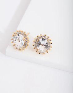 Lovisa Jewellery, Diamond Earrings, Stud Earrings, White Sapphire, Sterling Silver Earrings, Gemstone Jewelry, Halo, Studs, Plating