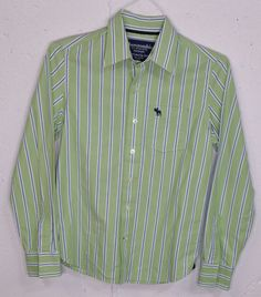 A&F Abercrombie Muscle Mens Green Striped 100% Cotton Long Sleeve Shirt M Short #AbercrombieFitch