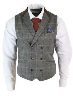 6b84e84c cavani Mens Double Breasted Herringbone Tweed Peaky Blinders Vintage Check  Waistcoat: Amazon.co.