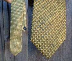 100% Silk Tie Italian Silk Necktie Golden Yellow by OLaLaVintage
