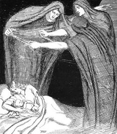 The Norse Norns weaving a child's life skein at birth. Tattoo Deus, Viking Culture, Legends And Myths, Asatru, Triple Goddess, Norse Mythology, Gods And Goddesses, Held, Ancient Art