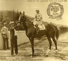 Gallant Fox, with Earl Sande up, after winning the 1930 Saratoga Cup. A Triple Crown winner, he sired 1935 Triple Crown winner Omaha. Photo courtesy of the National Museum of Racing and Hall of Fame.