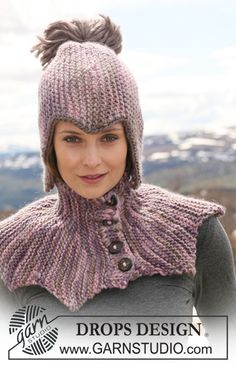 """Set comprises: DROPS neck warmer with buttons, worked from side to side in garter st and hat in garter st in """"Eskimo"""". - Free pattern by DROPS Design Drops Design, Knitting Patterns Free, Knit Patterns, Free Knitting, Free Pattern, Eskimo, Magazine Drops, Knit Crochet, Crochet Hats"""