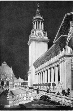 1915 San Francisco World's Fair - Part of Education Building and Court of Palms looking towards Horticultural Building | Panama-Pacific International Exposition Popular Information #PPIE