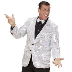 Colbert pailletten zilver voor heren. Deze luxe glitter colbert met zilveren pailletten heeft twee zakken en is gemaakt van katoen en polyester. Deze zilveren glitter colbert maakt uw feest outfit compleet!