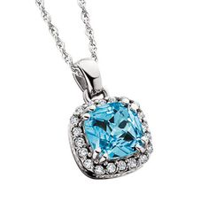 """14K White Gold Diamond and Blue Topaz pendant. A perfect everyday necklace, or a fantastic """"something blue"""" for your wedding day!"""