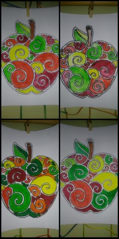 jablko, tempery, podzim, výtvarná výchova Autumn Crafts, Autumn Art, Fall Art Projects, Projects To Try, Crafts For Kids, Arts And Crafts, Art Terms, Autumn Activities, Art Classroom