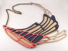 LOVE THIS!!!Leather Necklace Golondrina  Blue Yellow and neon pink by uyLaurel, $54.00