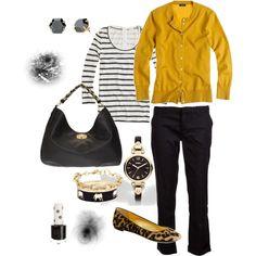 Striped top black pants, leopard pants & mustard cardigan