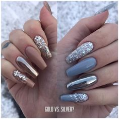 "736 Likes, 23 Comments - Sophie Karlsson (@nailsophiek) on Instagram: ""Guld eller silver?"""
