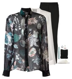 """""""Versus - Sheer Floral Print Blouse Style"""" by twinklebluegem ❤ liked on Polyvore featuring Jil Sander, Topshop, Versus, 7 Chi, Marsèll, women's clothing, women's fashion, women, female and woman"""