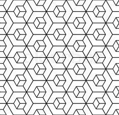 "Buy the royalty-free Stock vector ""Seamless geometric hexagons pattern. Geometric Tattoo Stencil, Hexagon Tattoo, Geometric Sleeve Tattoo, Mandala Tattoo Design, Geometric Patterns, Geometric Designs, Geometric Art, Textures Patterns, Hexagon Pattern"