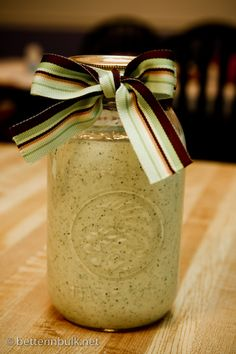 Cafe Rio, Creamy Tomatillo Dressing:    1 pkg. dry ranch dressing mix  1 Cup buttermilk  1 Cup mayonnaise  1-2 tomatillos  1/2 clove garlic, minced  1/2 bunch cilantro, chopped  1/2 tsp. lime juice  1/2 small jalapeno, seeds removed    Blend together in food processor till smooth–NO chunks! Let dressing sit for a few hours for best taste.