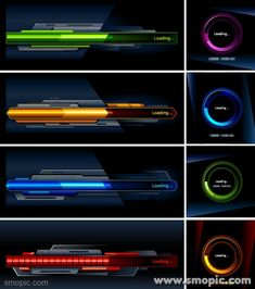 4 Vector Cool Game Technology loading progress bar style design templates to download