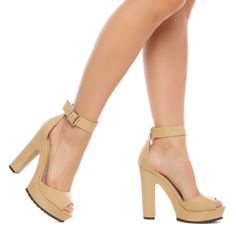 Tan Chunky Heel with slight Pump and Peep Toe and Ankle Strap