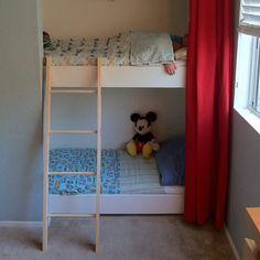 Bunk bed with ladder in the closet! Project completed in 24 hrs :)