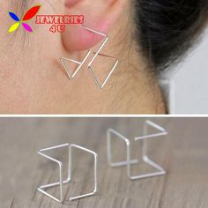 Women's Cube Geo Earrings Copper Gold Silver Black Wire Square Ear Studs women Brincos Grandes