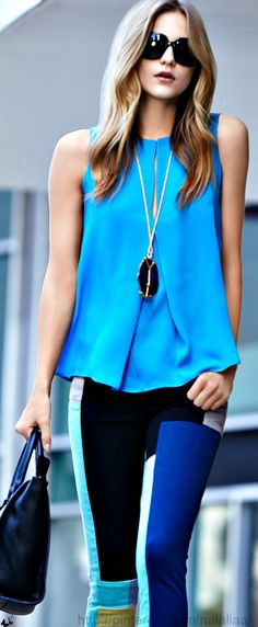 i like the top baby blue nice colour... this goes with white and black pant, tight or capri, jeans!