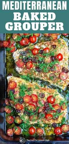 BEST baked grouper recipe you'll find and it's ready in just over 20 mins! Cooked Mediterranean-style with bold fresh flavors like garlic lemon cherry tomatoes & olives! Low carb and Gluten Free. Grab the recipe complete with step-by-step tutorial today! Grouper Recipes, Fish Recipes, Seafood Recipes, Dinner Recipes, Cooking Recipes, Healthy Recipes, Food52 Recipes, Baked Grouper, Baked Fish