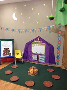 Themed preschool classroom for camping! (Stumps made of yoga mats cut, painted, … - Preschool Activities Preschool Rooms, Classroom Activities, Preschool Activities, Camp Theme Classroom, Preschool Camping Theme, Summer Themes For Preschool, Bear Theme Preschool, Toddler Classroom Decorations, Home Daycare Rooms