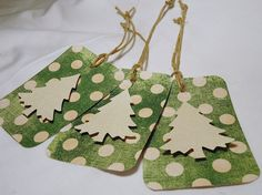 Christmas gift tags Christmas tree gift tags green by kC2Designs