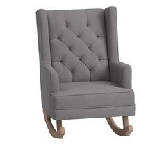 Modern Tufted Convertible Rocker, Performance Slub Cotton Metal Gray-Driftwood