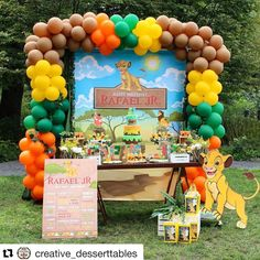 Lion king Birthday Party Dessert Table and Decor Birthday Party Desserts, Boy Birthday Parties, Birthday Party Decorations, Cake Birthday, Baby Boy Birthday Themes, Lion King Birthday, Birthday Ideas, Disney Birthday, Lion King Theme