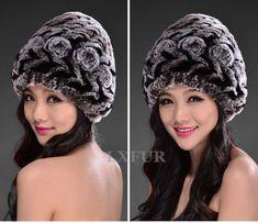 Fashion Womens Real Rex Rabbit Fur Hats with Stripe Design Cute Ladies  Winter Warm Rex Rabbit Fur Caps LX00213 97c2c17a7ab6