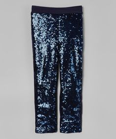 Loving this Navy Sparkle Sequin Glitter Pants - Kids
