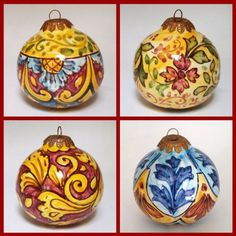 painted christmas ornaments - hand painted in Sicily