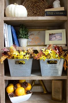Fall Decorating on Bookcase Shelves | Decorchick!®