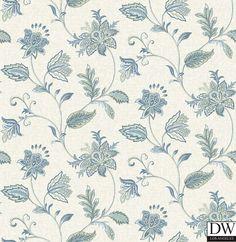 Georgette Denim Jacobean Wallpaper  [FFA-82003] Frederica Frontere   Color: Denim   DesignerWallcoverings.com   Luxury Wallpaper   @DW_LosAngeles   #Custom #Wallpaper #Wallcovering #Interiors