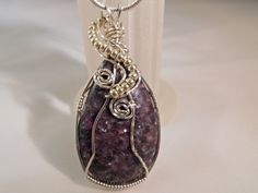 Wire Wrap Jewelry Purple Agate Pendant Handmade by elainesgems, $23.00