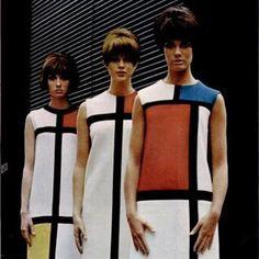 Models showcase Yves Saint Laurent's #Mondrian collection