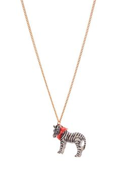 "A hand painted cute porcelain Zebra on an 18"" or 24"" gold plated, silver plated or antique brass based necklace.  Also available on 18"" and 24"" sterling silver chain.  The Zebra comes with a coral red ribbon bow."