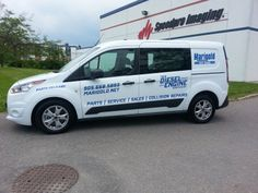 This 2014 Ford Transit is Marigold Ford's Parts vehicle.  Required a logo/graphics package installed.  The graphics were a mix of digital print graphics, and cut blue vinyl all done by Speedpro Imaging Oshawa!