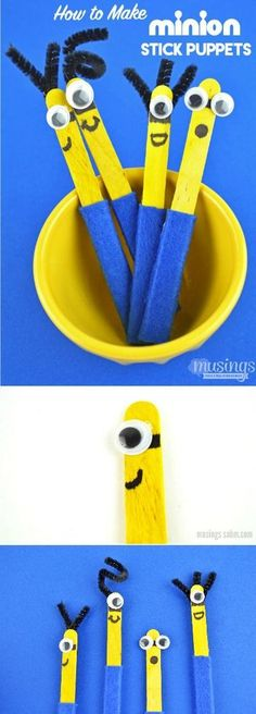 If your family is a fan of the Minions, you'll love learning how to make stick puppets because these are extra special - they're MINION stick puppets! This easy to make craft is a great rainy day activity for kids because they're so fun to play with and t