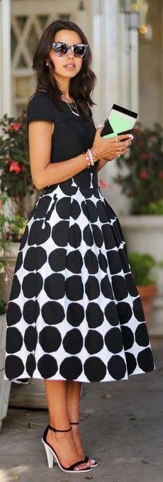 Banana Republic Black And White Mega Dot Maxi Skirt by Vivaluxury. Perfect way to wear your midi skirt.