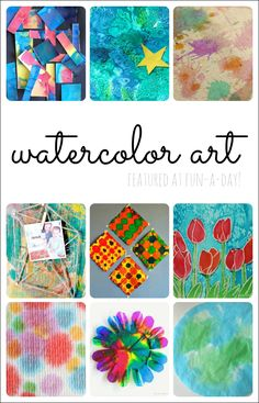 Watercolor Art for Kids - 10 Colorful Ideas 10 beautiful ideas for watercolor art projects with kids - Share It Saturday features Watercolor Art Face, Watercolor Art Landscape, Watercolor Art Lessons, Watercolor Art Paintings, Watercolor Projects, Painting Collage, Watercolors, Collage Art, Image Clipart